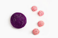 Decoration balls pink and purple Royalty Free Stock Images