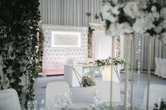 Decoration of the banquet hall on the wedding day stock photo