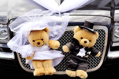 Decoration bears on wedding car Royalty Free Stock Photos