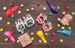 Decoration of Birthday party on the wooden background with empty Stock Photos