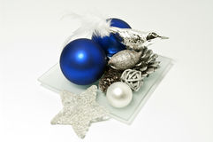 Decoration in blue and silver. Christmas decoration in blue and silver Stock Photos