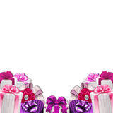 Decoration border - frame - gift boxes with bows and ribbons Stock Images