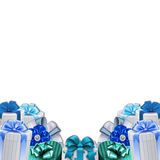 Decoration border - frame - gift boxes with bows and ribbons Stock Photo