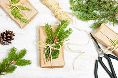 Decoration of the branches of a Christmas tree and gifts Royalty Free Stock Photos