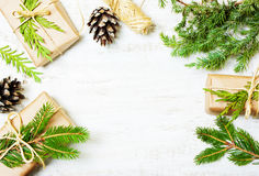 Decoration of the branches of a Christmas tree and gifts Royalty Free Stock Photo