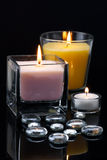 Decoration with burning candles Stock Photos