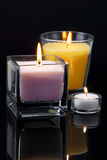 Decoration with burning candles Stock Photography