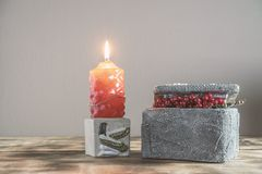 Decoration candlestick and suitcase for jewelry royalty free stock images