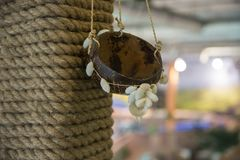 Decoration cap with shells. Cap, decoration, rope Royalty Free Stock Image
