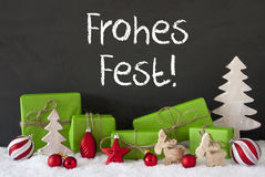 Decoration, Cement, Snow, Frohes Fest Means Merry Christmas Stock Photos