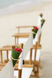 Decoration chair on beach wedding venue Stock Images