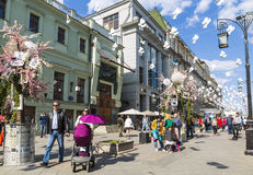 The decoration of the Chamberlain lane in Moscow during the festival Moscow spring Stock Photos