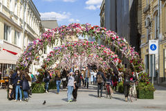 The decoration of the Chamberlain lane in Moscow during the festival Moscow spring, Stock Photos