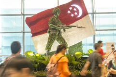 Decoration at Changi international airport in Singapore. Floral decoration at Changi international airport in Singapore showing flag of Singapore and soldier of Stock Images