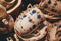 Decoration china tea set Stock Photos