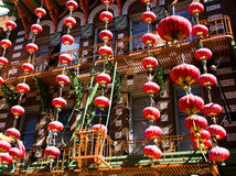 Decoration for Chineese New Year Celebration. San Francisco chinatown during Chineese New Year Royalty Free Stock Images