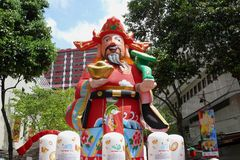 Decoration on Chinese new year. Decoration on the street of Singapore on Chinese new year. An inflatable statue having the zodiac signs with comments on each Royalty Free Stock Photos