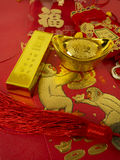 Decoration for Chinese new year. Gold ingots for chinese new year Stock Photo