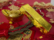Decoration for Chinese new year. Gold ingots for chinese new year Stock Images