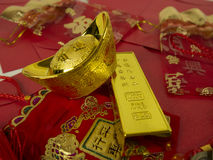Decoration for Chinese new year. Gold ingots for chinese new year Royalty Free Stock Photos