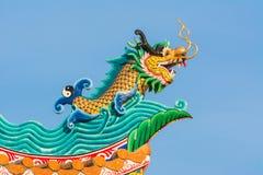 Decoration on Chinese shrine roof. Chinese shrine roof decoration on blue sky background stock photography