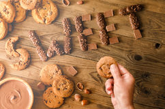 Decoration of chocolate and cookies Stock Image