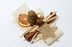 Decoration for christmas. Christmas decoration with cinnamon, pine cone and a dried orange Stock Images