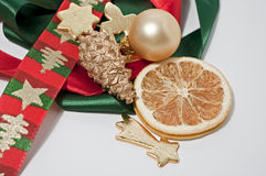 Decoration for christmas. Decoration in gold, green and red Royalty Free Stock Images
