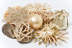 Decoration for christmas. Decoration in gold on white background Stock Photo