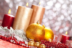 Decoration - christmas balls and candles Stock Photo