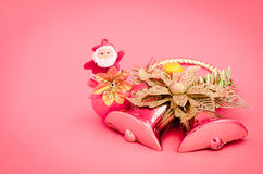 Decoration of christmas day. Decoration of christmas on sweet pink color tone background Royalty Free Stock Photo