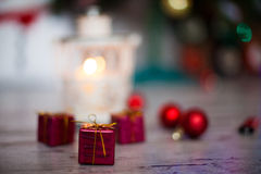 Decoration for christmas on the floor, ball and present Royalty Free Stock Photo
