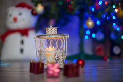 Decoration for christmas on the floor, ball and present Royalty Free Stock Photos