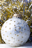 Decoration Christmas New Year silver ornament ball. Extreme close up Stock Image
