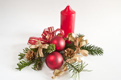 Decoration for christmas with a red candle Royalty Free Stock Images