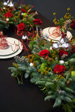 Decoration on christmas table Royalty Free Stock Image