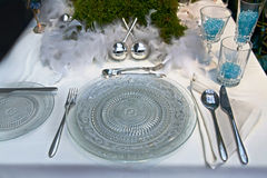 Decoration on christmas table Stock Photos