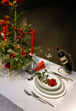 Decoration on christmas table Stock Photo