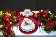 Decoration on christmas table Royalty Free Stock Images