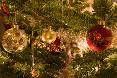 Decoration in christmas tree Royalty Free Stock Images