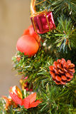 Decoration on Christmas tree Stock Photos