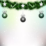 Decoration for christmas tree. An illustration of garlands, bright stars, Christmas balls on a christmas tree branch Royalty Free Stock Photos