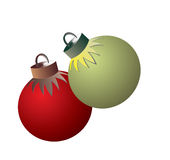 Decoration for the Christmas tree. A vector illustration, decoration for the Christmas tree, red and green balls Stock Illustration