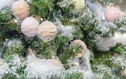 Decoration on the Christmas tree in the form of ice cream balls stock photography