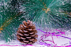 Decoration for the Christmas tree is a pine cone. Royalty Free Stock Image