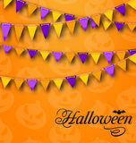 Decoration with Colorful Bunting Pennants for Halloween Party Stock Photos