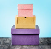 Colorful package box on a table Stock Photography