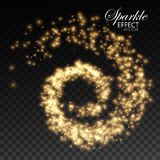 Decoration confetti element for design. Glowing trail of golden sparkling star particles. Spiral stream of sparkling fire glitters. Decoration holiday element Stock Image