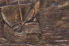 Decoration from copper. On which the sea scenes are shown stock images