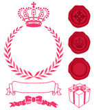 Decoration of crown, wreath and sealing wax. Set of beauty advertisement icons. Vector illustration Stock Image